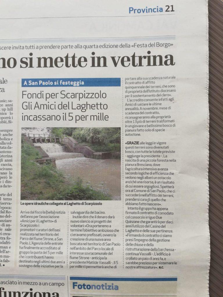 Articolo Bresciaoggi 02-10-2019
