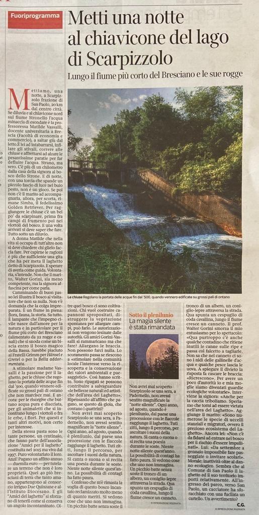 Articolo del Corriere della Sera - Brescia sul Laghetto del 22 agosto 2020